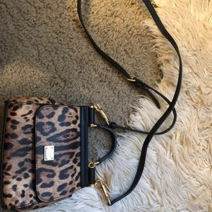 Dolce Gabbana Leather Leopard Crossbody